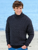 Mens Wool Turtleneck Sweater - Charcoal