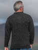 Men's Donegal Tweed 2 Button Sweater - Black - Back