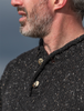 Men's Donegal Tweed 2 Button Sweater - Black - Button Detail