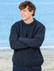 Irish Fisherman Ribbed Sweater - Charcoal