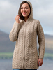 Hooded Coatigan with Celtic Knot Zipper Pull - Parsnip