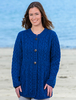 Women's Merino Wool A-Line Fit Cardigan - Blue Marl