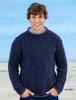 Wool Cashmere Crew Neck Sweater - Navy