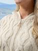Women's Merino Wool Cable Knit Hoodie - White