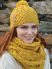 Aran Snood Scarf with Buttons - Sunflower Yellow