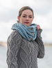 Aran Snood Scarf with Buttons - Misty Marl