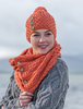 Aran Snood Scarf with Buttons - Autumn Leaf