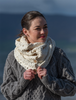 Aran Snood Scarf with Buttons - White