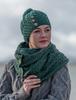 Aran Snood Scarf with Buttons - Connemara Green