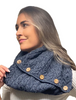Aran Snood Scarf with Buttons - Derby