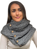 Aran Snood Scarf with Buttons - Grey