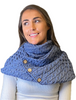 Aran Snood Scarf with Buttons - Denim