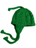 Aran Cable Fleece Lined Hat with Ear Flaps - Green