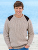 Irish Fishermans Ribbed Sweater with Patches - Oatmeal