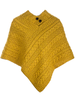 Cable Aran Poncho With Button Detail - Sun flower Yellow