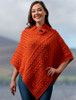 Cable Poncho with Aran Button Detail - Autumn Leaf