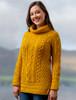 Aran Cowl Neck Tunic Sweater - Sunflower Yellow