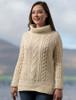 Aran Cowl Neck Tunic Sweater - Natural White