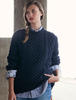 Heavyweight Merino Wool Aran Sweater - Navy