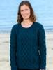 Lambay Aran Sweater for Women - Atlantic