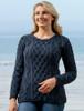 Lambay Aran Sweater for Women - Navy