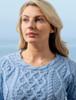 Lambay Aran Sweater for Women - Morning Sky