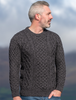 Heavyweight Merino Wool Aran Sweater - Charcoal Marl
