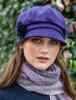 Ladies Tweed Newsboy Hat - Dark Purple