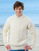 Wool Cashmere Aran Sweater - Natural White