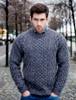 Wool Cashmere Aran Sweater - Navy Marl