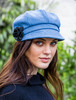 Ladies Tweed Newsboy Hat - Sky Blue