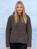 Handknit Fleece Lined Hooded Cardigan - Blue Fleck