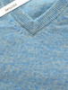 Mens Lambswool V-Neck Sweater - Skyline Blue