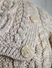 Cowl Button Neck Aran Sweater