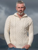 Heavyweight Merino Wool Aran Troyer - White