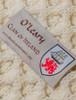 O'Leary Clan Aran Throw - Label