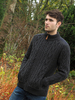 Full Zip Cardigan with Patches - Charcoal