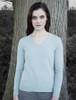 Womens Lambswool V-Neck Sweater - Aqua Haze