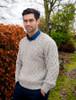 Merino V-Neck Aran Sweater - Oatmeal