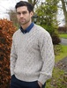 Merino V-Neck Aran Sweater - Oatmeal