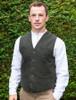 Tweed Herringbone Waistcoat - Olive