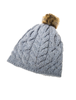 Aran Bobble Hat - Ocean Grey
