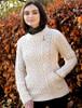 Merino Wool Side Zip Aran Cardigan - Natural White