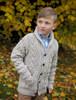 Kid's Shawl Neck Aran Cardigan - Oatmeal