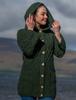 Merino Ladies Long Cardigan with Hood - Army Green