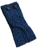 Merino Buttoned Headband - Merino Blue