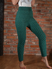 Wool Cashmere Aran Cable Leggings - Garden Green