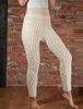 Wool Cashmere Aran Cable Leggings - Natural White