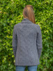 Women's Two Button Aran Cardigan - Steel Marl
