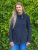 Women's Two Button Aran Cardigan - Navy